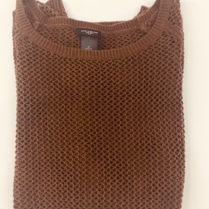 Ann Taylor Brown Open Knit Fall Sweater Medium